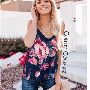 Last one! Blue floral ruffle cami